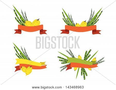 Vector collection of labels and elements for Sukkot, Jewish Traditional Holiday. Template for card with lemons and traditional four species
