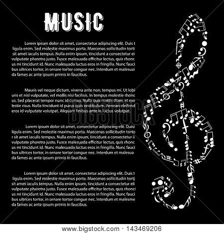 Black and white musical banner with treble clef symbol, created of musical notes, bass clefs, key signatures, chords, pauses with text layout. Music and arts infographics design template