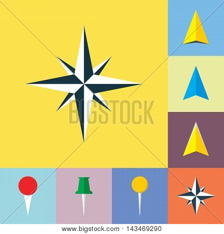 Set of navigational flat icons. Wind rose navigation pointer arrow symbol location marker pin icons. EPS8 clean vector illustration.