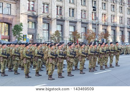 Kiev Ukraine - 19 August 2016: Infantry soldiers preparing for parade at Kreschatyk street which will take place on the 24-rd of August dedicated to the 25-th anniversary of Independence of Ukraine.