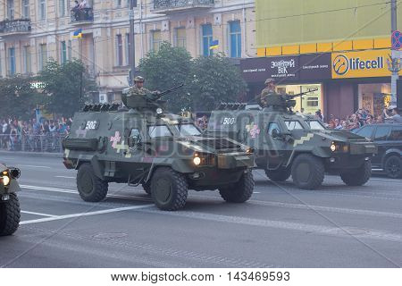 Kiev Ukraine - 19 August 2016: Mechanized troops preparing for parade at Kreschatyk street which will take place on the 24-rd of August dedicated to the 25-th anniversary of Independence of Ukraine.