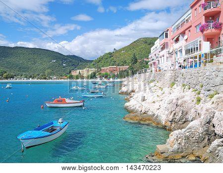 Promenade of Rabac at adriatic Sea in Istria,Croatia