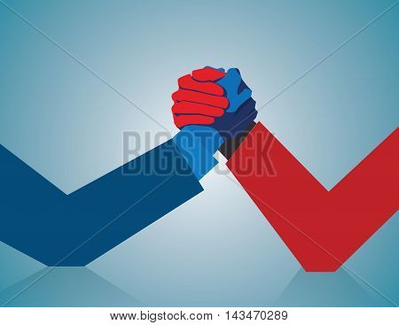 Competitive business. Two businessmen arm wrestling in a competitive business. Concept business illustration. Vector flat