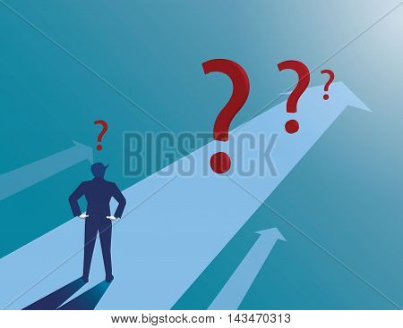Business Route cumbersome and confusing Encountered numerous hurdles. Question mark. Vector flat