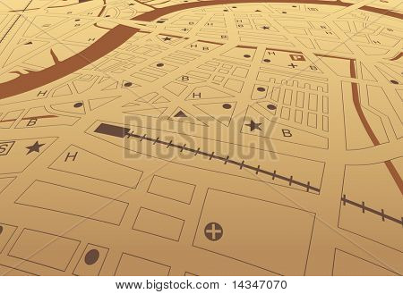 Editable vector streetmap of a generic city with no names