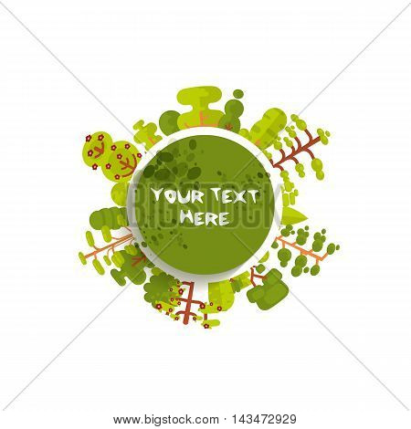 Stock vector illustration of green circle banner or round sticker with trees and bushes located along the rim on a white background in a flat style for Environmental Design, eco style, ecology