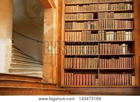 VIENNA, AUSTRIA - MAY 30, 2016: Stairs and bookcase inside historical building of the Austrian National Library on May 30, 2016. Est in 18th century the largest library in Austria with 7.4 mill items