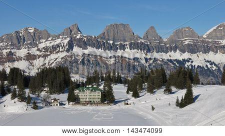 Churfirsten Range. View from Flumserberg. Winter scene in the Swiss Alps.