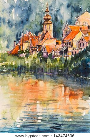 Frohnleiten-small city above Mur river in Styria,Austria.Picture created with watercolors.