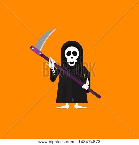 Stock vector illustration a grim Reaper character for halloween in a flat style