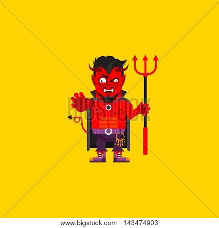 Stock vector illustration Devil character for halloween in a flat style