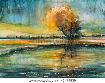 Autumn tree with orange leaves reflecting in lake .Picture created with watercolors.