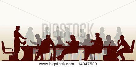 Sylwetka nowej wiedzy osób na spotkaniu