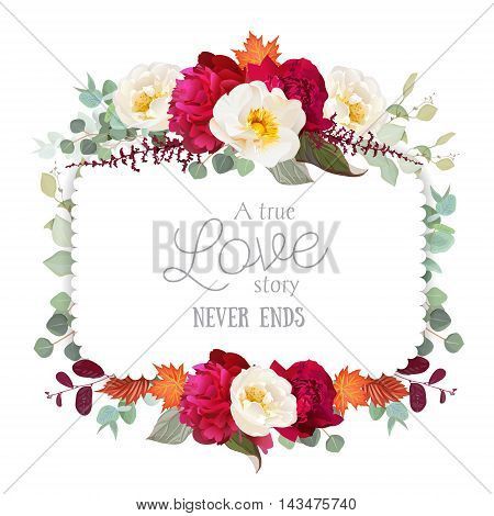 Square floral vector frame with peony wild rose mint eucaliptus and maple leaves on white. White and burgundy red flowers. Autumn card.