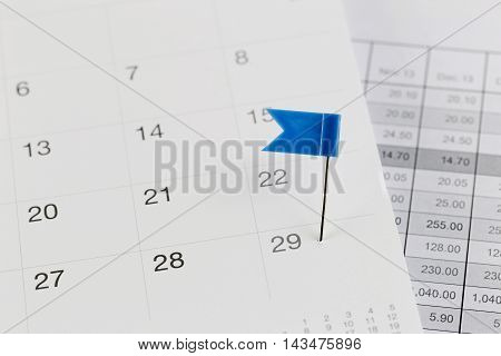 Blue Pins to Wildcats on the calendar beside the Twenty-nine number of month in business concept.