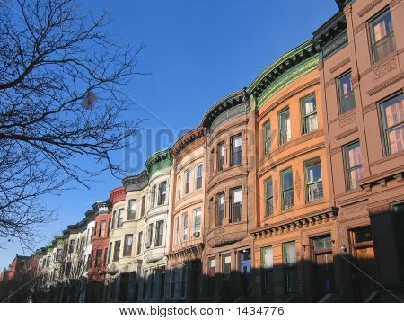 Harlem district and its typical house - New York. poster
