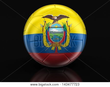 3d Illustration. Soccer football with Ecuadorian flag. Image with clipping path