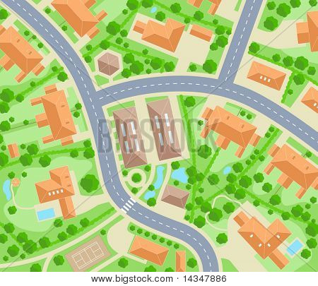 Editable vector map of a generic residential area