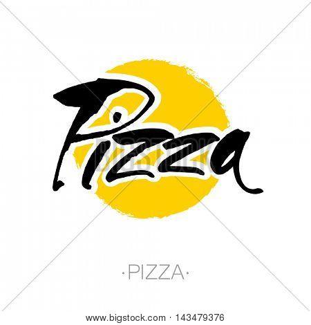 PIZZA hand-lettering calligraphy. Italian pizza - design template for pizzerias, restaurants, cafes, brand name, logo, pizzafest. Hand drawn vector stock illustration. Modern brush ink.