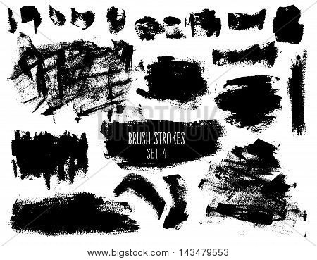 Brush strokes and backgrounds set. Dirty spots and textured elements isolated on white background. Black trendy hatches for banners buttons and prints.