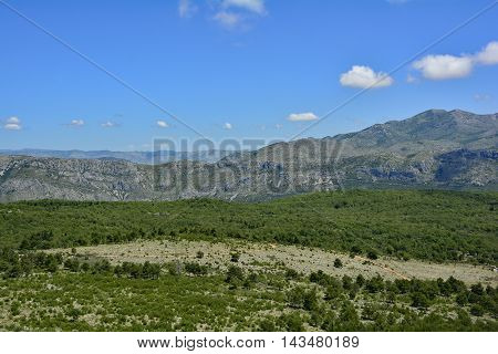The landscape just inland of Dubrovnik Croatia.