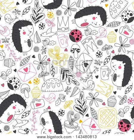 Cheerful seamless pattern with hedgehogs ladybugs tea cake and other cute things.Seamless pattern can be used for wallpapers pattern fills web page backgrounds surface textures. Cute vector wallpaper