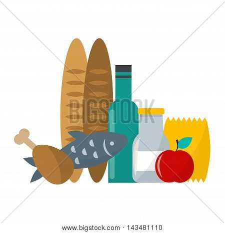 Daily product vector illustration of healthy organic fresh and natural food. Flat vector daily product icons. Shop product retail store daily product food isolated