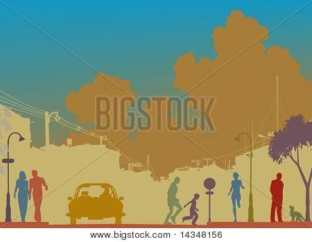 Editable vector silhouette of a busy street