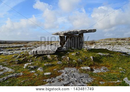Poulnabrone tomb and the Burren in Ireland.