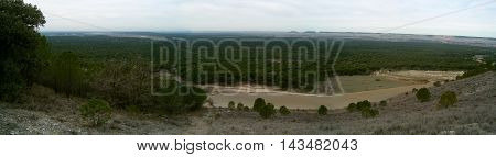 Panoramic sightseeing of a forest in Valladolid, Spain