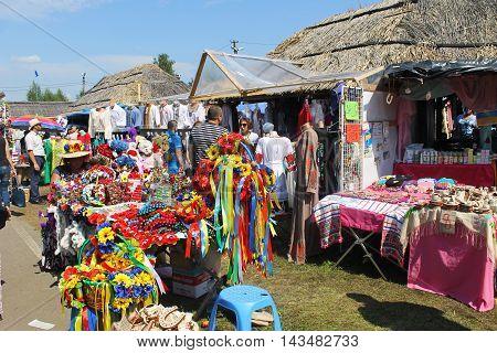 Velyki Sorochyntsi -August 20, 2016: Ukrainian souvenirs during Sorochintsy Fair in Velyki Sorochyntsi, Ukraine