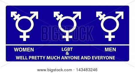 A new gender neutral bathroom sign design since the government has issued that all bathrooms are for all genders no matter what they were born as