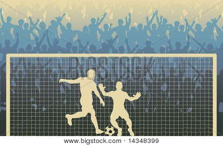 Illustration of a cheering crowd watching a penalty kick in a soccer match