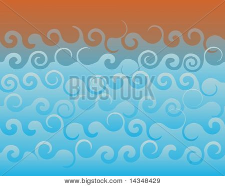 Abstract illustrated background of ocean waves