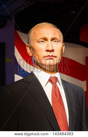 BANGKOK THAILAND - DECEMBER 19: Wax figure of the famous Vladimir Putin from Madame Tussauds on December 19 2015 in Bangkok Thailand.