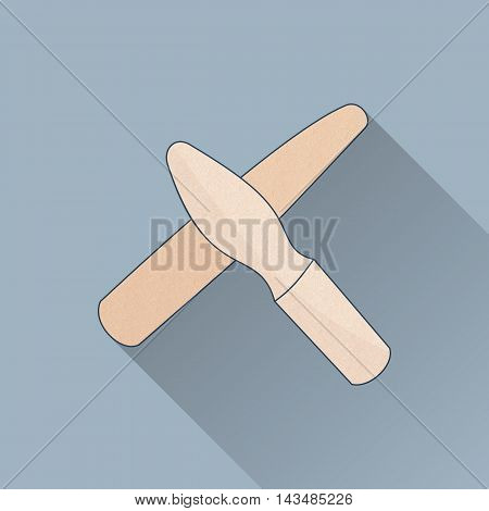 Hand drawn reflexology hand and body massage tool. Flat icon colored image with long shadow on gray background.