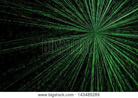 digital green star burst matrix generated in black background technology concept.