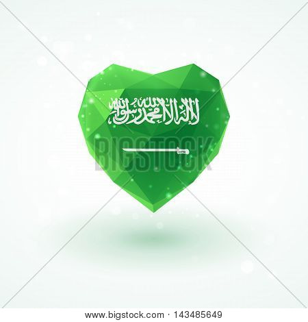 Flag of Saudi Arabia in shape of diamond glass heart in triangulation style for info graphics, greeting card, celebration of Independence Day, printed materials