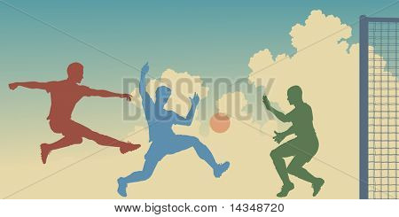 Colorful silhouettes of action in a football match