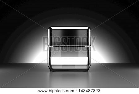 Deluxe Cosmetic black gloss Package 3D rendering