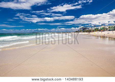 CALOUNDRA, AUS - AUG 13 2016: Hot sunny day at Kings Beach Calundra, Queensland, Australia