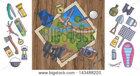 Map and plan to travel. Trip plan vector, travel guide. Camera, passports, map, compass, GPS. Cartoon Style. Vector Illustration.