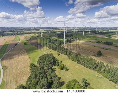 Wind Turbines In Suwalki. Poland. View From Above. Summer Time.