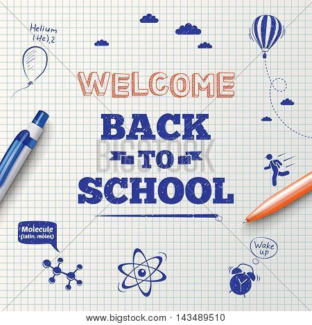 Back to school poster education background. Back to school inscription on the background of school stationery items and hand drawn icons