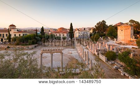 Remains of the Roman Agora and Tower of Winds in Athens, Greece.