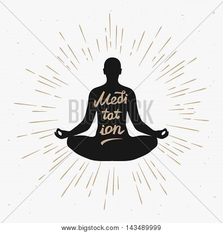 Illustration of a man meditating in the lotus position with sun rays monochrome. Vector illustration