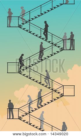 Illustrated silhouettes of people walking up and down flights of stairs with sky background