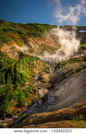River and cascades between thermal features of Mutnovsky Volcano, Kamchatka, Russia
