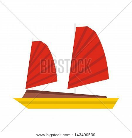 Vietnamese junk boat icon in flat style isolated on white background. Shipbuilding symbol
