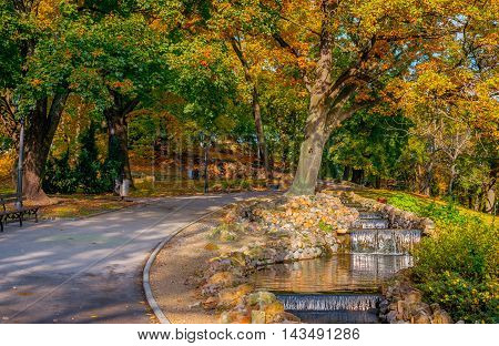 Autumn in central public park of Riga, Latvia